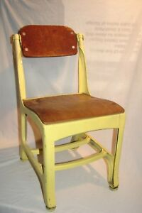 Vintage Mid Century Wood And Metal Child School Chair Yellow 23 Tall