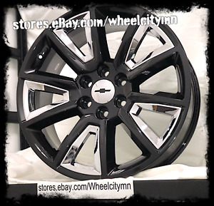 20 Inch Gloss Black Chrome Inserts 2016 Chevrolet Silverado Ltz Oe Wheels 6x5 5