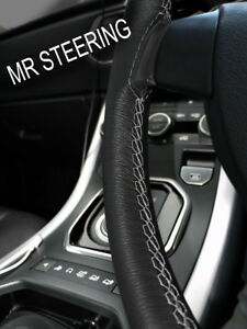 For 1949 Rover P4 Series Black Leather Steering Wheel Cover Grey Double Stitch