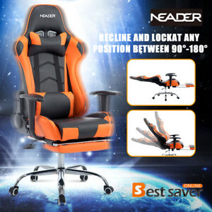 Neader Executive Racing Gaming Chair High Back W footrest Office Chair Orange