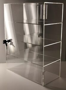 Acrylic Counter Top Display Case Acrylic Locking Show Case shelves 12 x9 x20 5