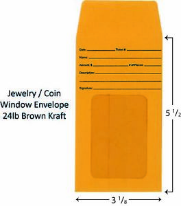 Jewelry coin Window Envelopes Pack Of 1000
