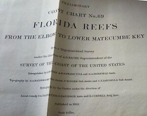 1863 Us Coast Survey Florida Reef Elbow To Lower Matecumbe Key Map Chart