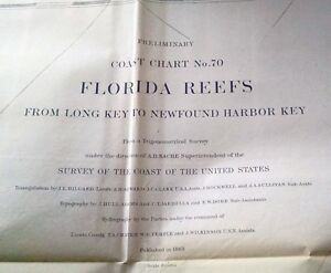 1863 Us Coast Survey Florida Reefs Long Key To Newfound Harbor Key Map Chart