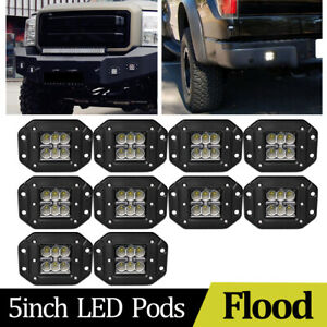 10pcs 5inch 24w Flush Mount Led Driving Light Spot Truck 4x4 Bumper Reverse Fog