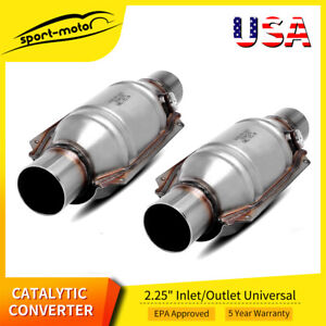 Pair 2pc Epa Approved 2 25 Catalytic Converter Universal Fit Ecoii 4 Round