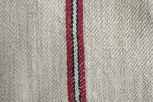 Antique European Hemp Grain Sack Gorgeous Red And Black Stripes