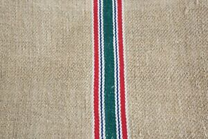 Antique European Hemp Grain Sack Pretty Red Green White And Blue Stripes