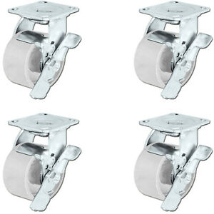 Casterhq 4 X 2 Steel Swivel Casters W brakes Set Of 4 4 000 Lbs Capacity
