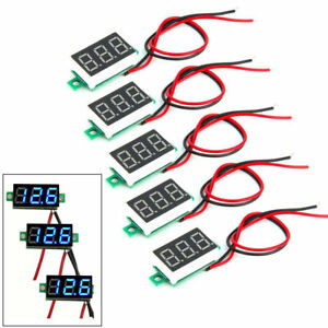5pack Mini Blue Dc 3 30v Led Panel Voltmeter 3 Digital Display Voltage Meter Us