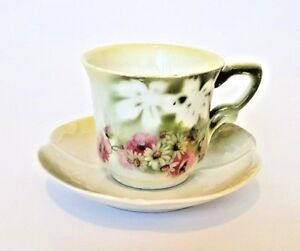 Old Russian Porcelain Cup Saucer Kuznetso Style Flowers Early 20th Century