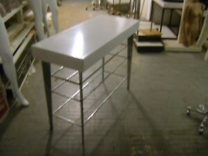 White Chrome Retail Store Fixture Merchandise Display Table
