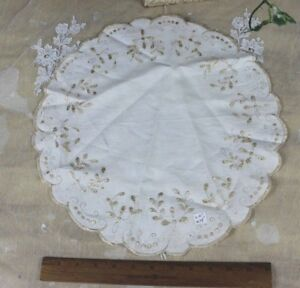 Antique C1900 Silk On Linen Society Work Hand Embroidery Round Doily 16 Lx15 W