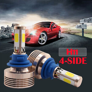 120w 12000lm H8 h9 h11 Led Conversion Headlight Kit Xenon Hid Pure White 4 Sided