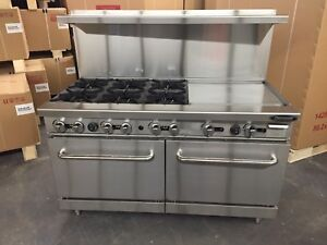 6 Burner Gas Range 24 Griddle 2 Full Double Size Standard Ovens 60 Restaurant