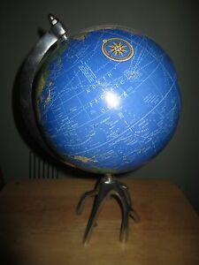 Awesome 8 Inch World Globe On Chrome Stand For A Desk