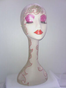 Hand Painted White Long Neck Styrofoam Mannequin Head Display 19 Inches Tall
