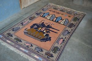 Handmade Afghan War Pictorial Rug Military Weapons Size 209 X 133 Cm