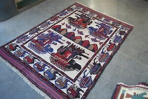 Handmade Afghan War Pictorial Rug Military Weapons Size 196 X 141 Cm