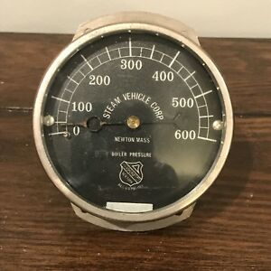 Stanley 750 Motor Carriage Steam Car Boiler Dash Gauge Steam Vehicle Corp