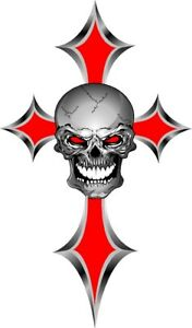 Simulated Red Chrome Skull And Cross Vinyl Graphic Decal