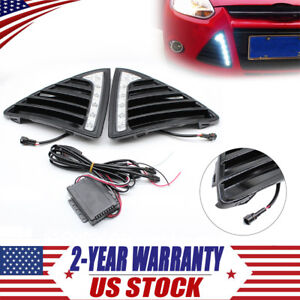 Pair Fit Ford Focus 2011 2014 Led Drl Daytime Running Light Fog Lamp