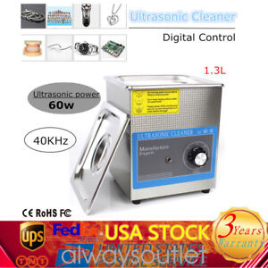 1 3l Industry Mechanical Ultrasonic Cleaner Bath Heater Timer Stainless Tank 60w