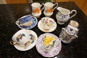 Antique Mixed Teacups With Saucers Lot