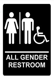 Ada Compliant All Gender Restroom Sign With Braille 1 8 Acrylic 6 x9 Vhb Tape