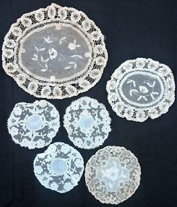 Group Of Antique Coasters Of Handmade Lace