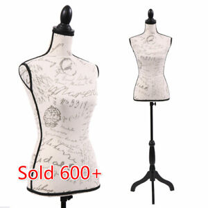 Female Mannequin Torso Dress Form Display Designer Pattern W black Tripod Stand