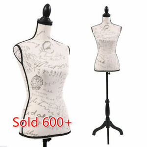 Female Mannequin Torso Dress Form Display Pattern W blacktripod Stand Adjustable