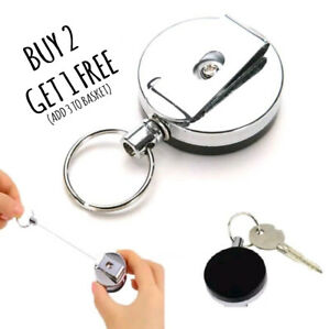 Retractable Pull Keychain Holder Reel Recoil Key Ring Belt Clip Buy 2 Get 1 Free