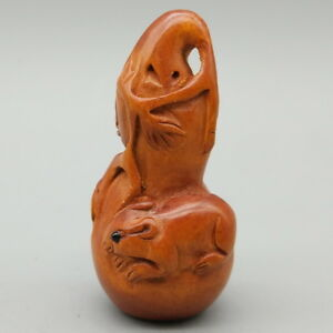 Hand Carved Japanese Boxwood Netsuke Mice Calabash Rat Mouse Dark Wood Color