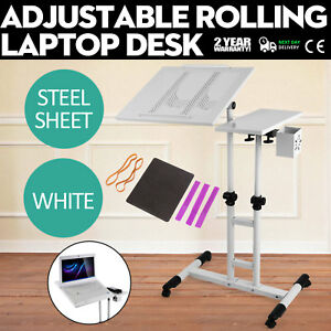 Adjustable Height Rolling Laptop Desk Table 20kg Capacity Anti slide Over Sofa