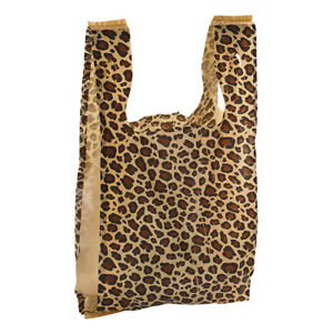 Medium Leopard Print Plastic T shirt Bags Case Of 500