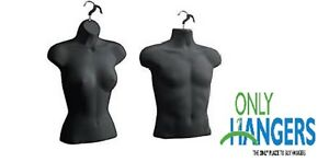Torso Female Male Body Mannequin Forms Set waist Long For S m Sizes Black
