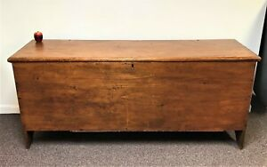 Exceptional 6 Board Early 1800 S 6 Long Pine Blanket Chest Trunk