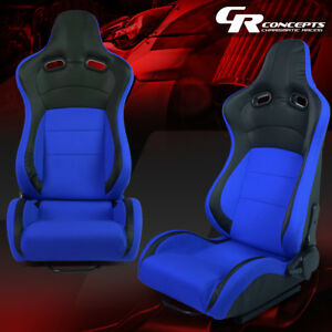 Full Reclinable Left right Side Black blue Fabric Racing Seats universal Sliders