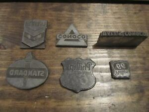 Lot Of 6 Printing Blocks Letterpress Gas Oil Chevron Standard Conoco Phillips