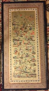 Antique Old Large Chinese Asian Silk Embroidery Panel Framed Folk Art Figures