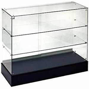 New Retail Glass Display Case Full Vision Black 4 Showcase