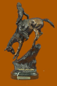 Hand Made Bronze Sculpture Rock A On Horse Riding Chief Indian Native Ug