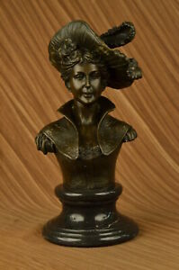 Hand Made Bronze Sculpture Marble Bust Female Sexy Large Original Signed Gift