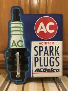 Ac Spark Plug Thermometer Ford Coupe Hot Rod Mobil Texaco Gas Oil Wall Can Pump