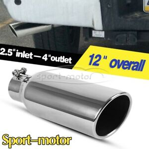 2 5 Inlet 4 Outlet Exhaust Tip 12 Inch Long Rolled Edge Angle Cut Tail Pipe Ss