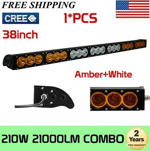 Slim 38inch 210w Cree Led Light Bar Dual Color Amber White Combo Driving Suv 40