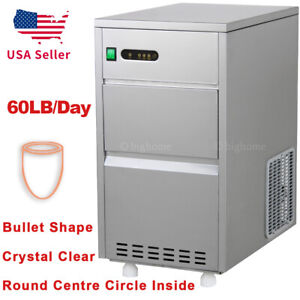 60lbs day Auto Nugget Bullet Ice Maker Commercial Countertop Machine Stainless