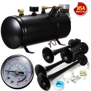 4trumpet 118db Air Horn Heavy Duty Metal W 150psi Air Compressor 12v Train Truck