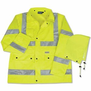 Erb S371 Class 3 Raincoat With Mesh Lining Hi Viz Lime